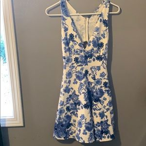Charlotte Russe Blue and White Floral Dress